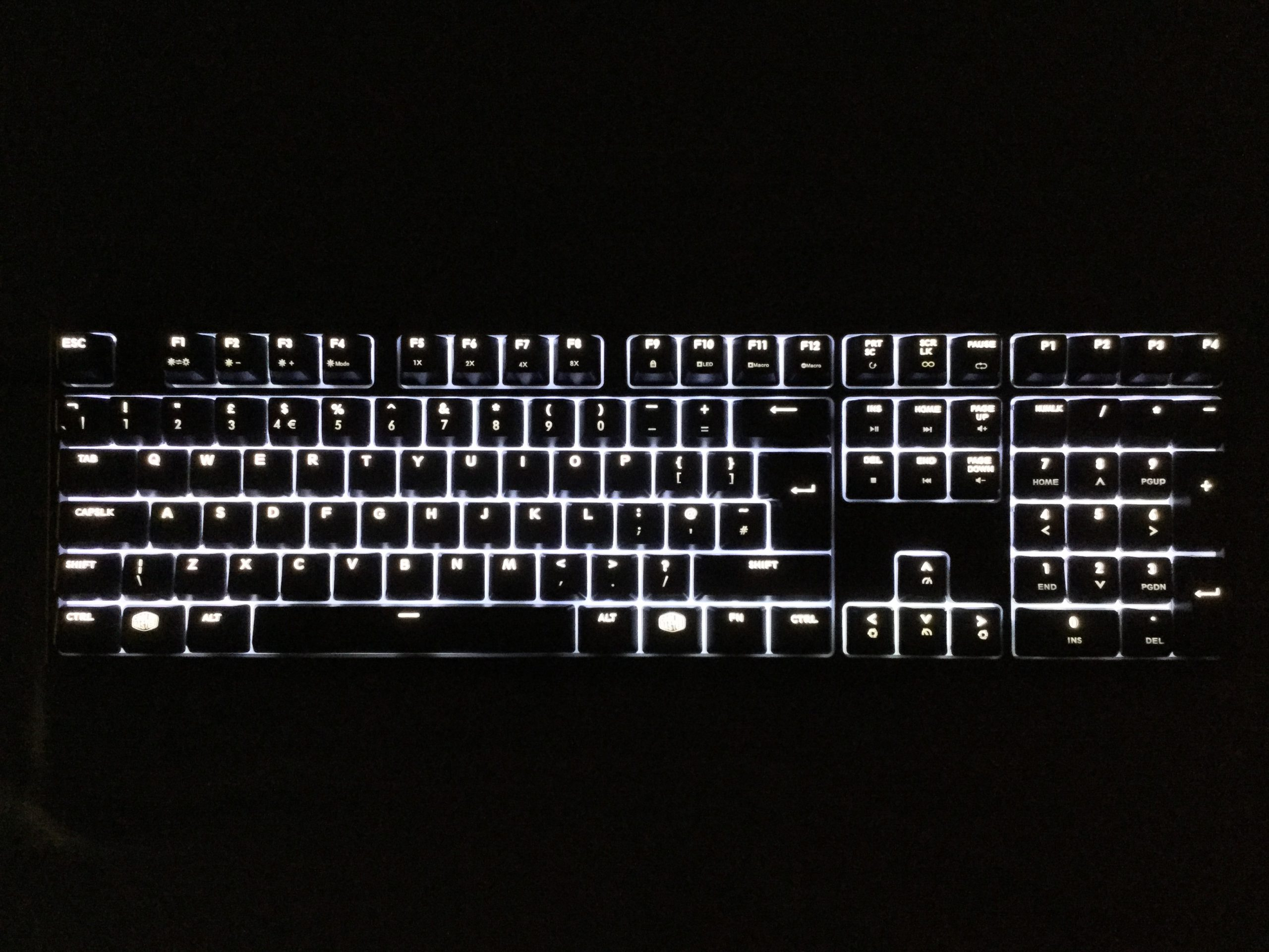 A Cooler Master Masterkeys Pro L with Cherry MX Brown switches.
