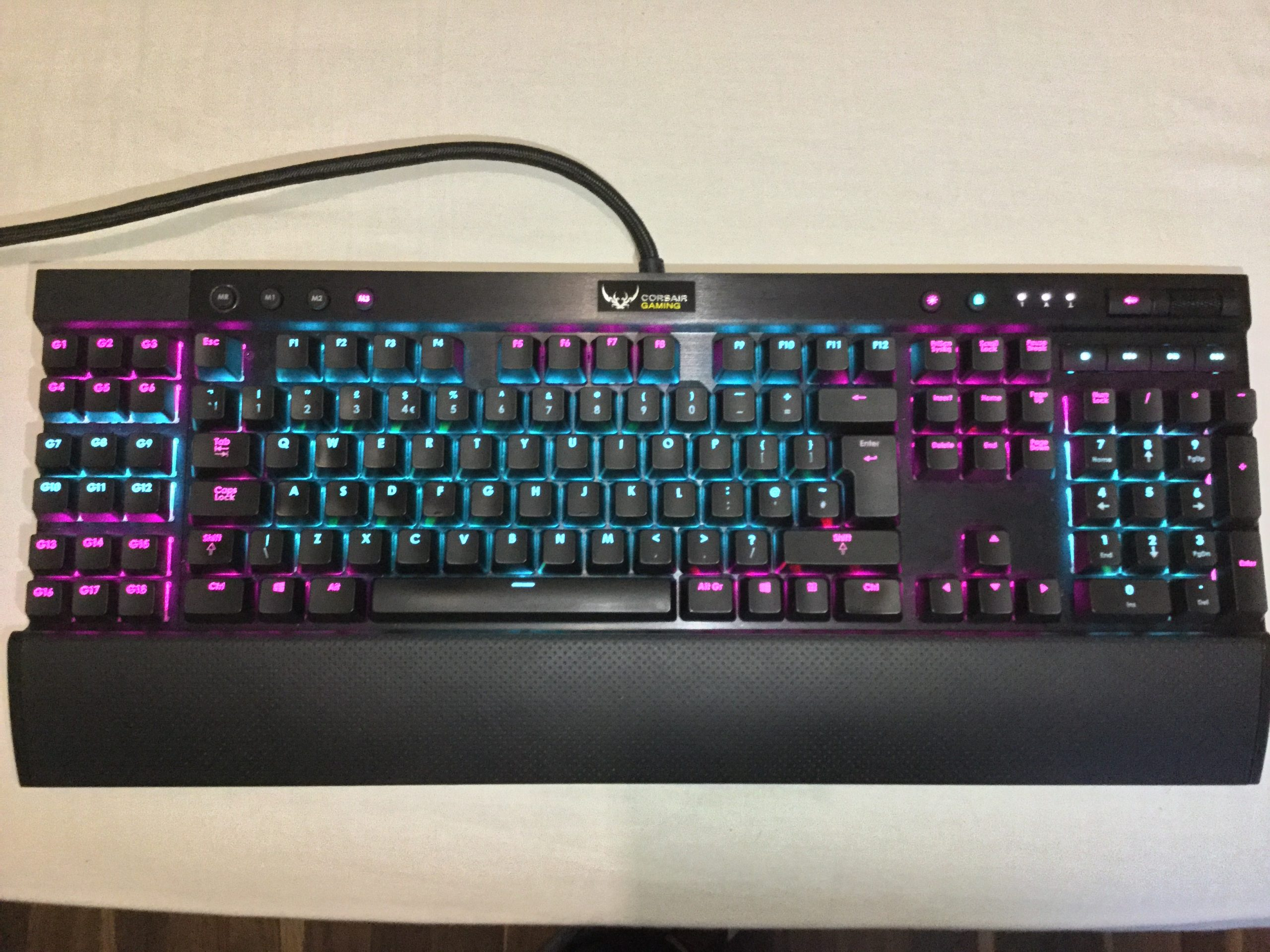 A Corsair K95 RGB with Cherry MX Brown switches.