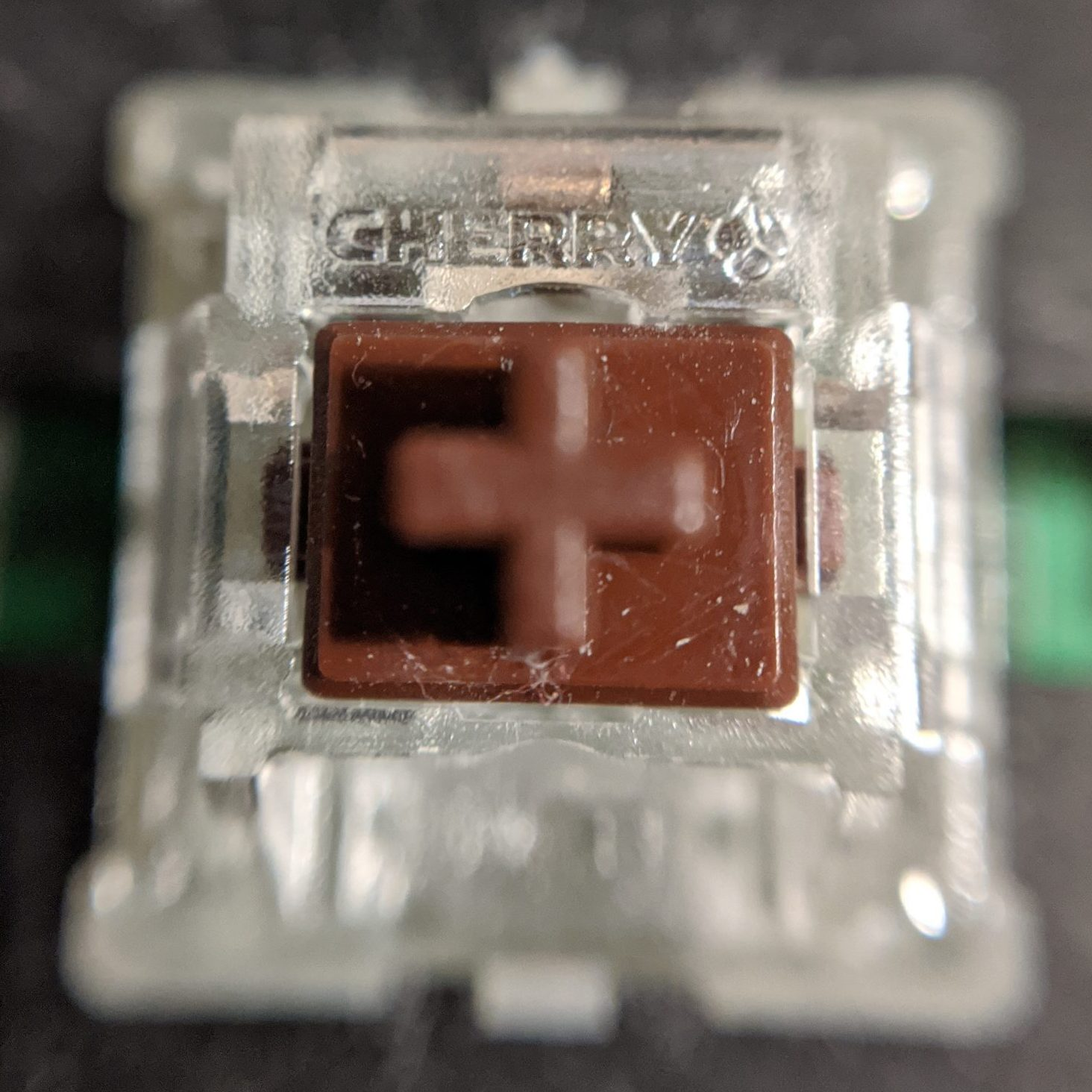 Cherry MX Brown switch macro shot