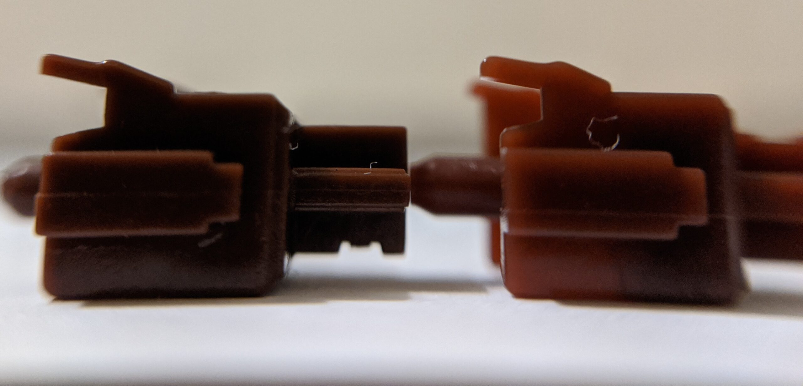 Greetech Brown and Gateron Brown side stem comparison