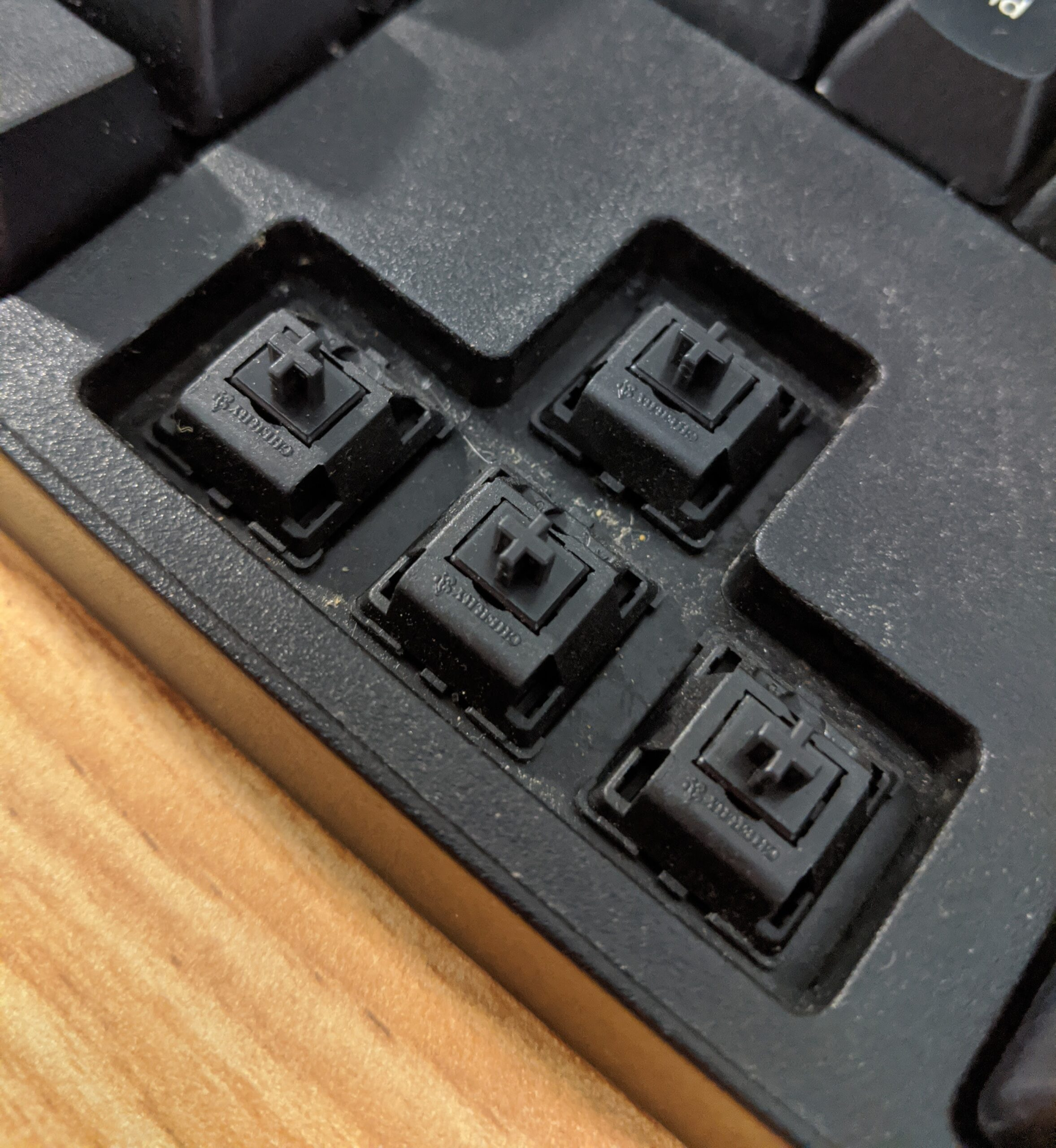 Cherry MX Black switches on arrow keys.